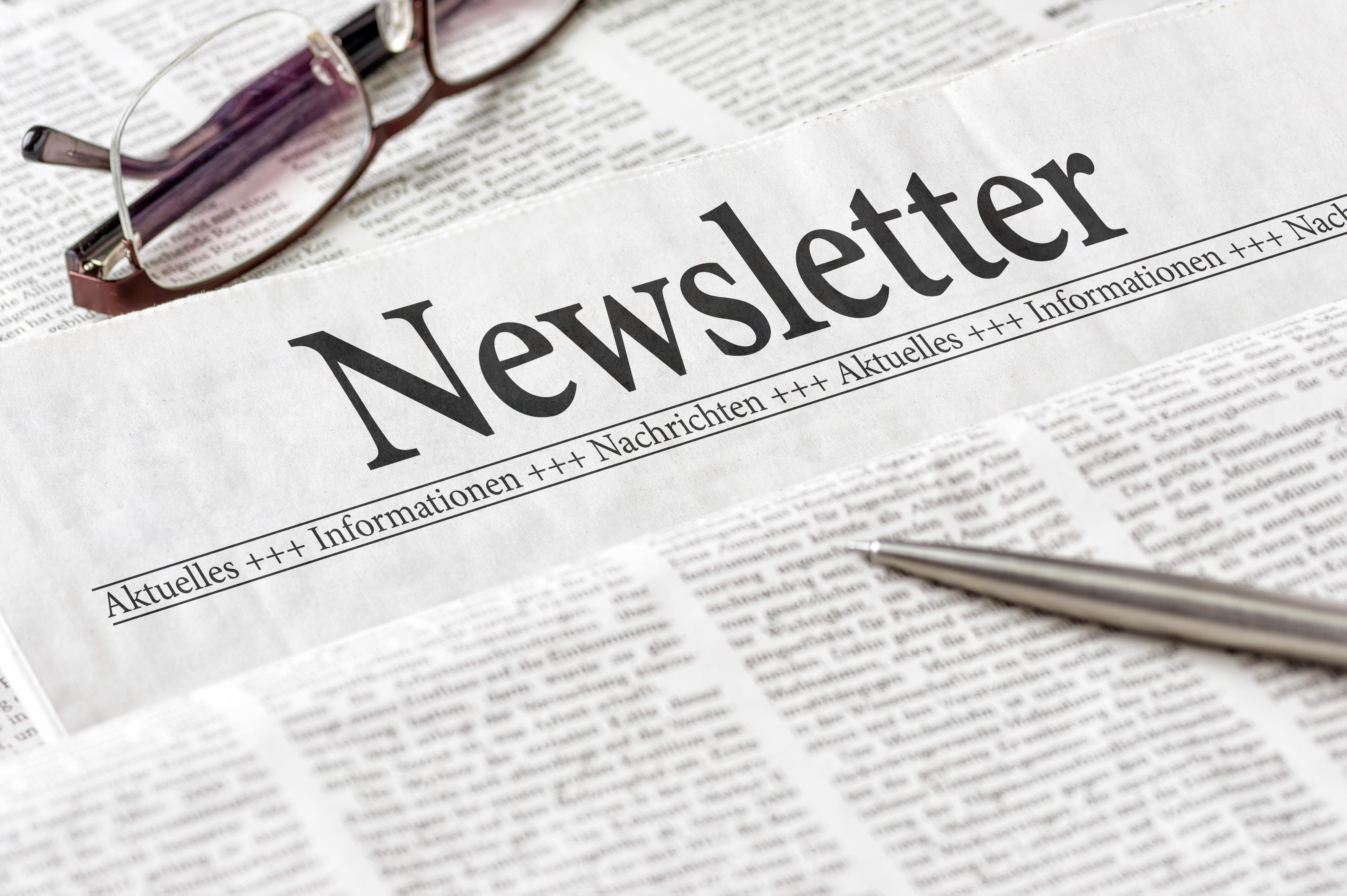 Zeitung mit der Überschrift Newsletter